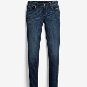 WHBM FAUX LEATHER TRIM SKIMMER JEANS 0 SHORT